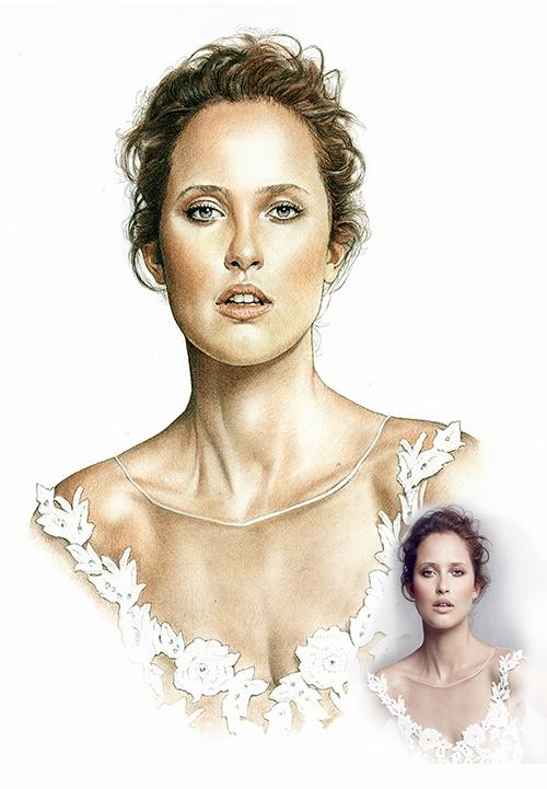 Retrato-color-lápiz-novia-3-foto-modelo