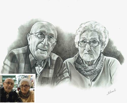 Retrato-lápiz-abuelos-foto-modelo