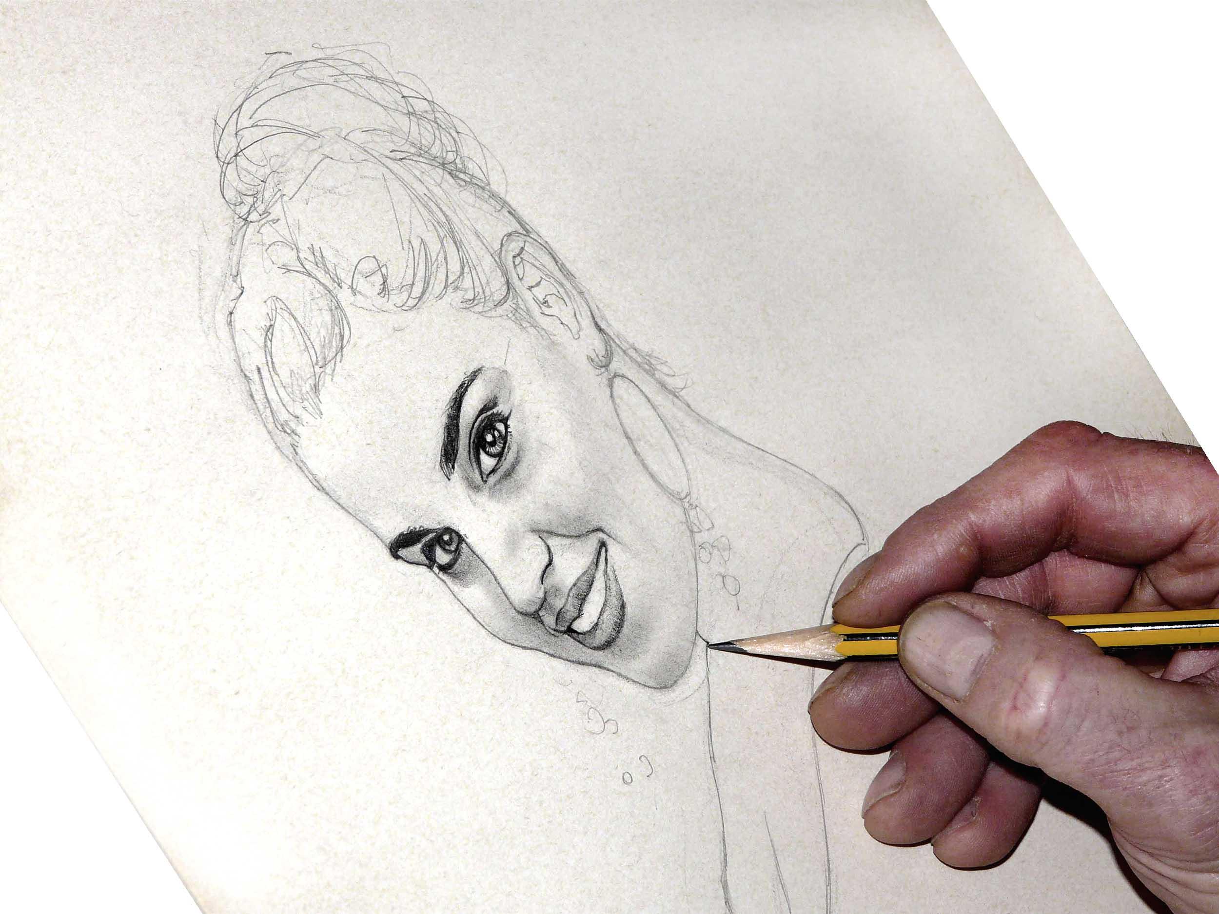 retrato a lápiz de una chica de Acadia Estudio