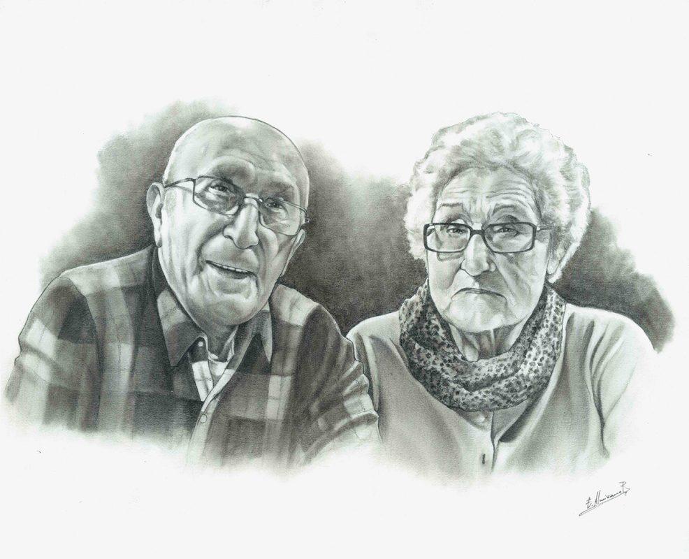Retrato a lápiz abuelos. Retratos Acadia Estudio.