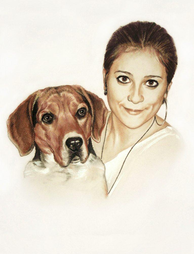 Retrato a lápiz chica y mascota. Retratos Acadia Estudio.