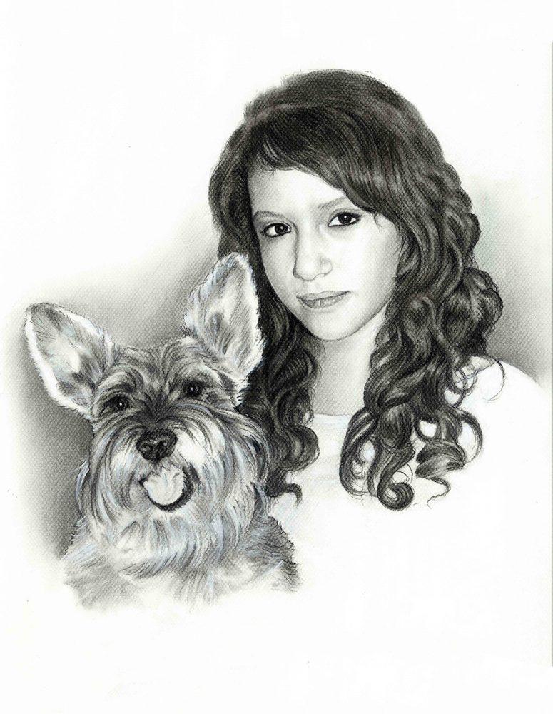 Retrato a lápiz chica y mascota, Retratos Acadia Estudio.