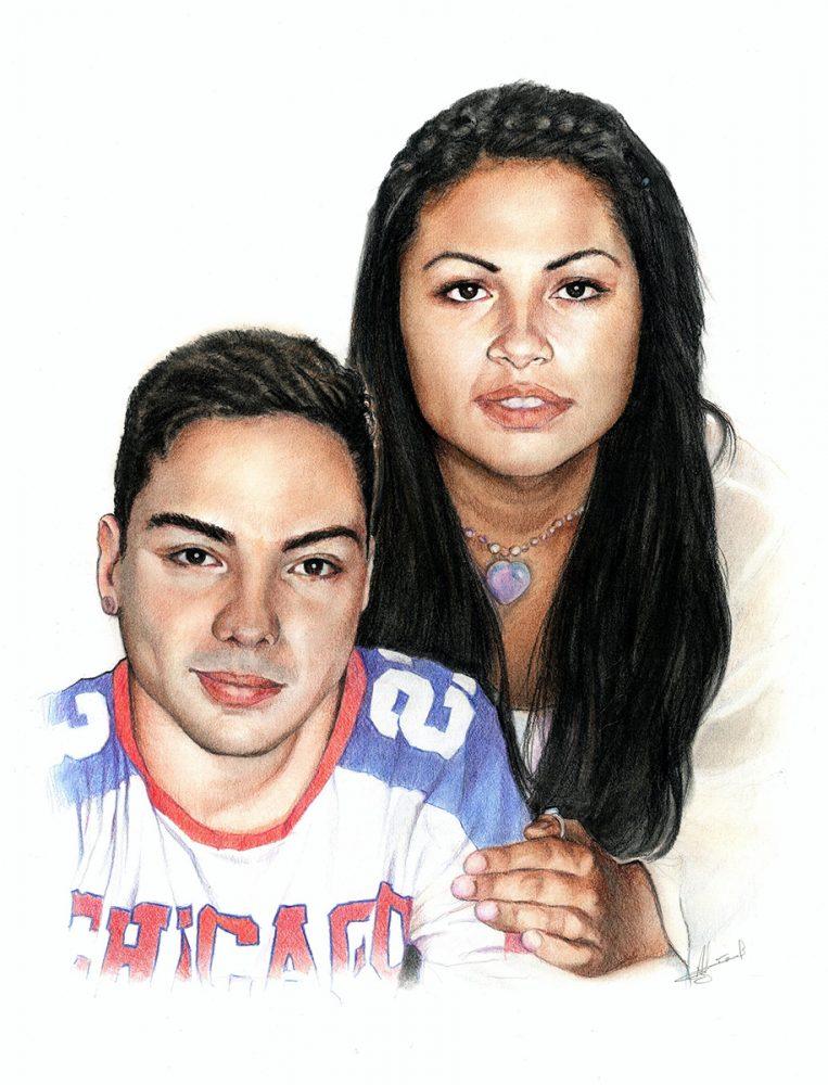 Retrato a lápiz chica y chico. Retratos a lápiz Acadia Estudio.