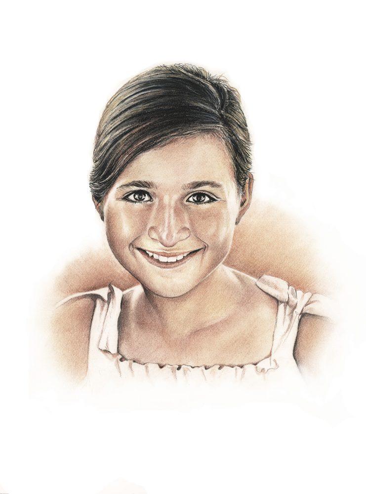 Retrato a lápiz niña. Retratos a lápiz Acadia Estudio.