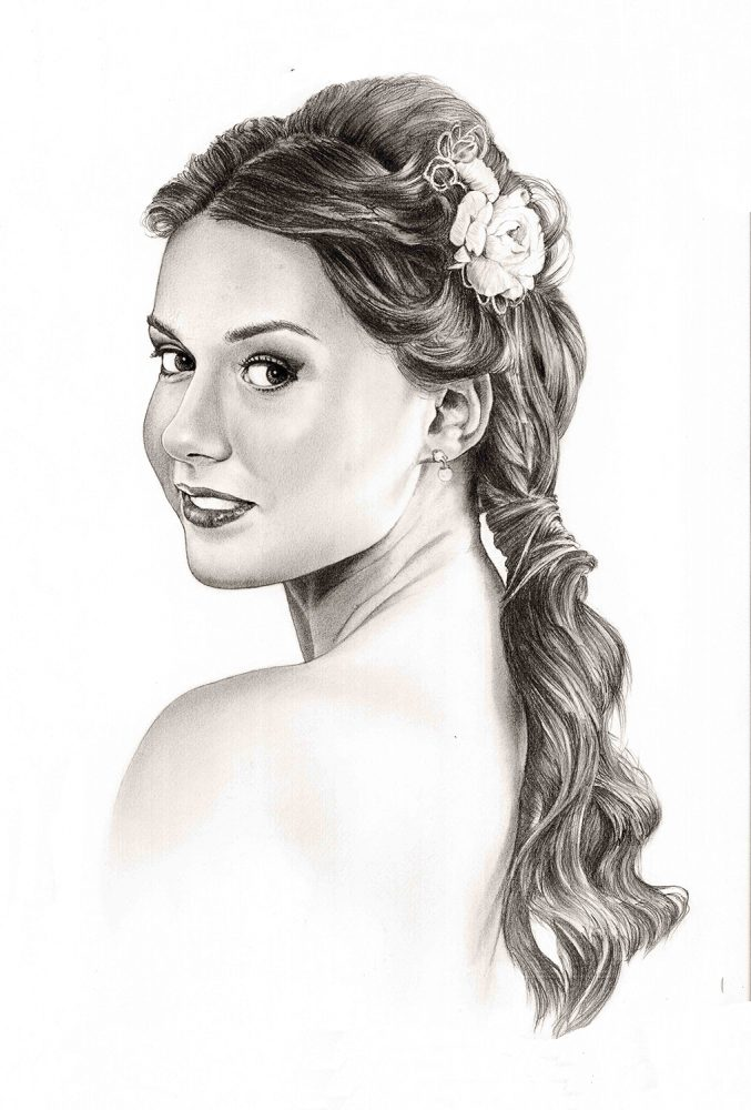 Retrato a lápiz de una novia en lápiz grafito. Retratos a lápiz por encargo Acadia Estudio.