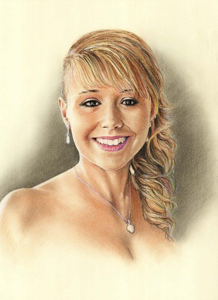 Retrato a lápiz de una novia en color. Retratos a lápiz por encargo Acadia Estudio.