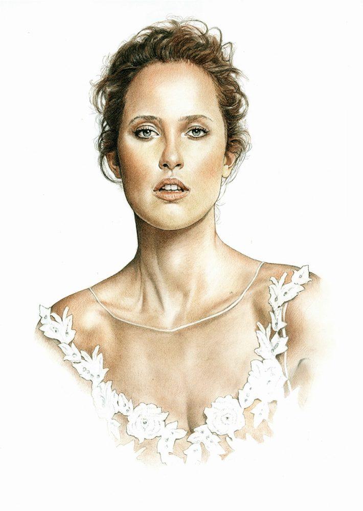 Retrato a lápiz de una novia. Retratos a lápiz por encargo Acadia Estudio.